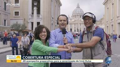JM no Vaticano: veja a equipe que vai representar a TV Bahia e o G1 na canonização - O apresentador Ricardo Ishmael encontrou brasileiros por lá e falou sobre os preparativos para a celebração.
