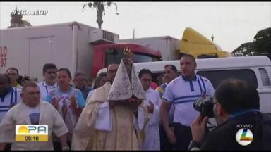 Imagem de Nossa Senhora de Nazaré visita o Ver-o-Peso - A tradicional missa para os feirantes e visitantes do complexo acontece sempre na quinta-feira que antecede o Círio.