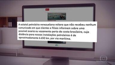 Estatal de petróleo da Venezuela nega responsabilidade pelo óleo que polui costa do Brasil - A companhia estatal de petróleo da Venezuela negou ser responsável pelo petróleo que atingiu praias do Nordeste do Brasil, mas tanto o governo brasileiro quanto pesquisadores afirmam que o óleo é venezuelano.