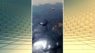 Manchas invadem as piscinas naturais e a areia da praia do Forte, na Bahia - As manchas ficaram mais visíveis por volta das 09h da manhã, que é horário de maré baixa na praia. Um telespectador mandou vídeos mostrando que a quantidade de óleo deu para encher tambores e sacos de lixo.