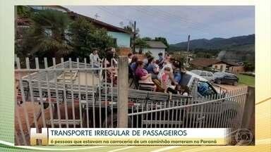Seis pessoas que estavam em carroceria de caminhão morrem no Paraná - Elas voltavam de um culto na cidade de Doutor Ulísses, na região metropolitana de Curitiba. Esse tipo de transporte é proibido por lei.