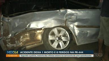 Acidente com transporte irregular de passageiros deixa uma pessoa morta e oito feridos - O acidente foi na PR-444 na região de Mandaguari.