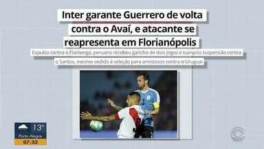 Guerrero deve voltar ao Inter para a partida contra o Avaí, quinta-feira (17) - Assista ao vídeo.