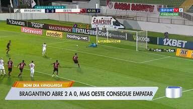 Bragantino abre 2 a 0, mas cede empate ao Oeste no Nabi Abi Chedid - Massa Bruta segue na liderança isolada da competição.