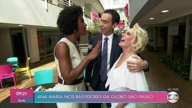 Ana Maria encontra César Tralli e Maju Coutinho - Ela aproveita para bater um papo com os jornalistas nos corredores da TV Globo em São Paulo