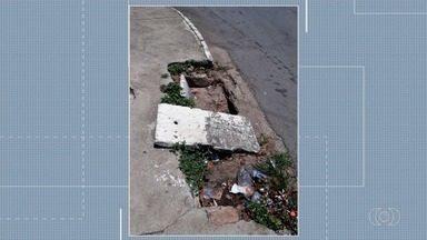 Moradores reclamam de bueiro sem tampa na Vila João Vaz, em Goiânia - Eles temem que alguém possa cair no local.