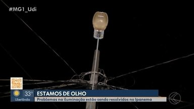 Após reportagem, problema de iluminação em bairro de Uberlândia começa a ser resolvido - MG1 mostrou a situação do Bairro Ipanema na quinta-feira (17); moradores inconformados denunciaram o problema. Equipe de reportagem voltou ao local e as reclamações começaram a ser atendidas.