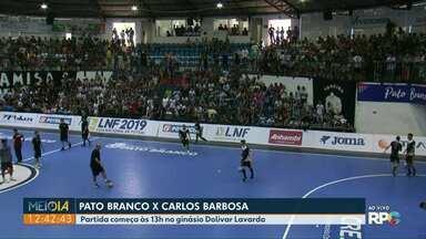 Quartas de Final da Liga Nacional de Futsal - Pato Branco recebe o Carlos Barbosa, RS, para o primeiro jogo de ida da fase eliminatória.