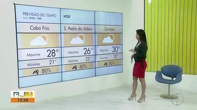 Confira a previsão do tempo para o interior do Rio neste sábado (19) - Assista a seguir.
