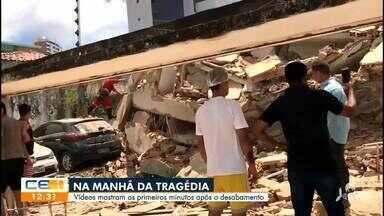 Vídeos mostram os primeiros momentos após o desabamento - Saiba mais no g1.com.br/ce