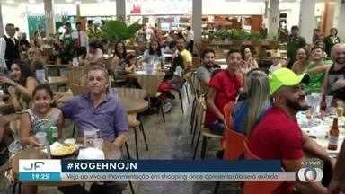 Veja movimentação em shopping para assistir JN com Thiago Rogeh e Taís Lopes - Veja movimentação em shopping para assistir JN com Thiago Rogeh e Taís Lopes