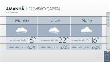 Previsão é de domingo de chuva e com temperaturas baixas - Temperatura pode variar entre 15ºC e 22ºC.