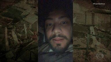 Jovem que fez selfie nos escombros após queda de prédio em Fortaleza mostra vídeo inédito - Davi ficou preso no vão do elevador, debaixo de uma estrutura da escada, mas não teve nenhum ferimento grave: 'Foi muito, muito aliviante sair daquele espaço'.