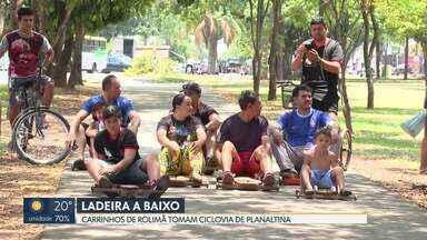 Moradores de Planaltina organizam competição de carrinhos de rolimã - O evento foi ontem (20), num trecho da ciclovia da cidade.
