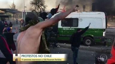 Onze pessoas morrem e 150 ficam feridas durante protestos no Chile - O motivo das manifestações foi o aumento da passagem do metrô, mas agora as pessoas pedem reformas para diminuir a desigualdade.