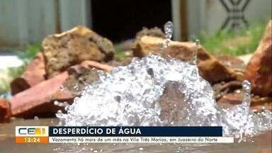 Vazamento há mais de mês na Vila Três Marias em Juazeiro do Norte - Saiba mais no g1.com.br/ce