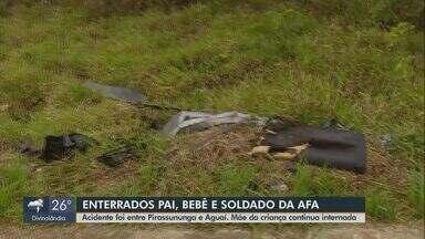 Vítimas de acidente na SP-225 em Pirassununga são enterrados - Pai, filha de 9 meses e soldado da Academia da Força Aérea (AFA) morreram na colisão.