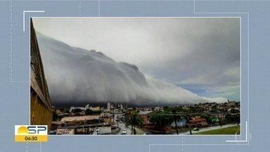 """""""Nuvem rolo"""", rescaldo da chuva no oeste do estado e a previsão do tempo - Flagrante foi em Ourinhos. Chuva de segunda causou prejuízos nas cidades de Salmourão e Osvaldo Cruz."""