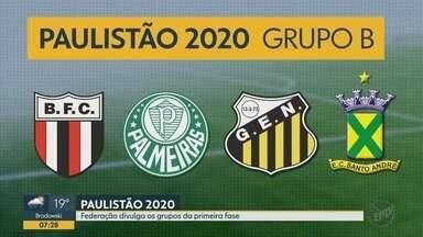 Confira os grupos da 1ª fase do Campeonato Paulista 2020 - Torneio terá 16 datas e jogos únicos nas quartas e semifinais.