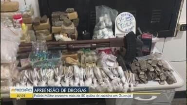 Grande quantidade de drogas é apreendida em Guarujá - A Polícia encontrou 100 kg de cocaína em uma casa no bairro Santa Rosa