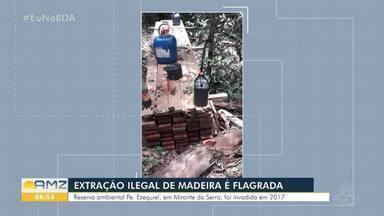 Polícia apreende madeiras e equipamentos de desmatamentos em reserva ambiental - Reserva ambiental Padre Ezequiel fica em Mirante da Serra.