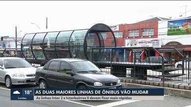Duas maiores linhas de ônibus do transporte público de Curitiba vão mudar - As linhas Inter 2 e Interbairros II devem ficar mais rápidas.