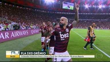 Goleada histórica leva Flamengo à final da Libertadores 38 anos depois - Rubro-negro venceu o Grêmio por 5 a 0