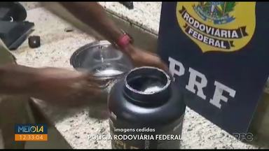PRF apreende anfetaminas em potes de suplementos, em Santa Terezinha de Itaipu - Quase três quilos da droga estavam escondidos nas embalagens.