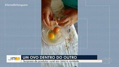 Ovo dentro de um ovo: veja a surpresa de um produtor de Jataí - Especialista explica como isso pode acontecer com os ovos das galinhas.