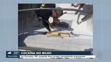 PRF apreende mais duas carretas transportando cocaína - A droga estava em semi-reboques carregadas com milho e com destino a Maringá e posteriormente ao Porto de Santos.