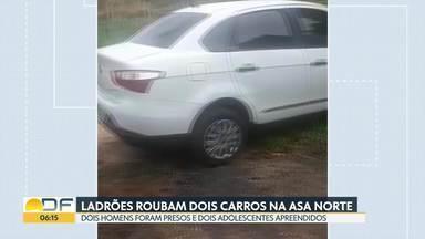 Quatro pessoas roubam carros na Asa Norte e são encontradas em Sobradinho - Os dois carros roubados no Setor Hospitalar Norte e na 406 norte foram localizados no Setor Habitacional Contagem, em Sobradinho. Dois homens foram presos e dois adolescentes apreendidos.