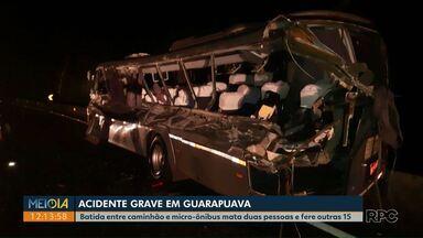 Duas pessoas morrem em acidente entre caminhão e micro-ônibus; 15 ficam feridos - Acidente aconteceu na BR-277, em Guarapuava, na noite de segunda-feira (28). Estudantes estavam no micro-ônibus, de acordo com a PRF.