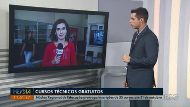 Núcleo Regional de Educação prorroga inscrições de cursos técnicos em Ponta Grossa - Interessados devem fazer inscrição até 31 de outubro. Também há cursos em outras cidades da região.