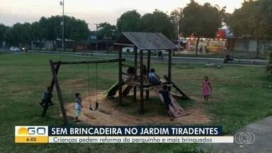 Crianças pedem que brinquedos sejam consertados em parque de Aparecida de Goiânia - Segundo eles, o brinquedo preferido, que é o balanço, está estragado. A prefeitura disse que vai fazer reforma em novembro deste ano.