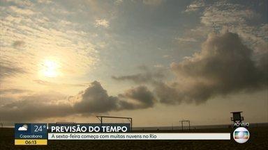 Confira a previsão do tempo para esta sexta-feira (1º) - Sexta-feira começa com muitas nuvens no Rio.