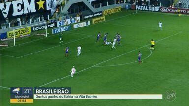 Santos ganha do Bahia na Vila Belmiro com gol de pênalti - Peixe está no 3° lugar da série A do campeonato Brasileiro, enquanto o Bahia continua em nono.