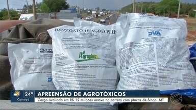 Carga de agrotóxico contrabandeada é apreendida - Carga avaliada em R$ 12 milhões estava na carreta com placa de Sinop (MT)