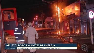 Casos de incêndio em postes de energia são constantes em Tangará da Serra - Casos de incêndio em postes de energia são constantes em Tangará da Serra