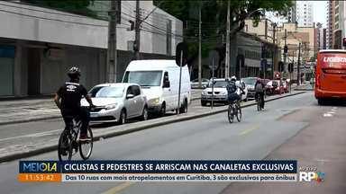 Das 10 ruas que mais registram acidentes, 3 são nas canaletas exclusivas - E o risco continua, porque ciclistas e pedestres insistem em andar nos espaços reservados apenas para os ônibus