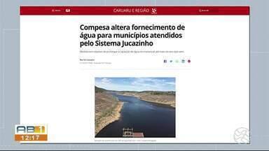 Compesa altera fornecimento de água para municípios atendidos pelo Sistema Jucazinho - Medida tem objetivo de prolongar a captação de água no manancial até maio do ano que vem.