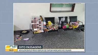 Adolescente com oito passagens é pego após furtar mercado - Produtos como barras de chocolate, sacolas de balinha, pacotes de cigarro e caixas de uísque foram recuperados.