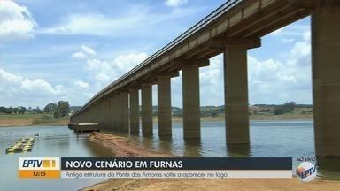 Antiga estrutura da Ponte das Amores volta a aparecer no Lago de Furnas - Antiga estrutura da Ponte das Amores volta a aparecer no Lago de Furnas