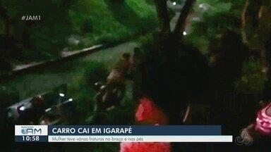 Em Manaus, carro cai em igarapé - Mulher teve várias fraturas no braço e nos pés.