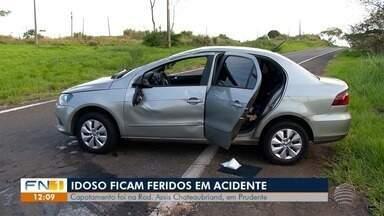 Capotamento de veículo deixa casal de idosos ferido em Presidente Prudente - Acidente de trânsito ocorreu na Rodovia Júlio Budiski (SP-501).