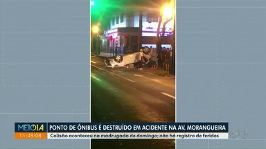 Ponto de ônibus é destruído em acidente na avenida Morangueira - Colisão aconteceu na madrugada de domingo.