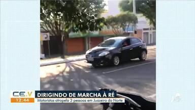 Motorista atropela três pessoas ao dirigir em marcha à ré em Juazeiro do Norte - Saiba mais no g1.com.br/ce