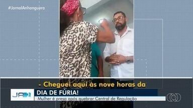 Mulher é presa após quebrar equipamentos da Central de Regulação em Aparecida de Goiânia - Segundo ela, a revolta ocorreu por conta da demora para conseguir um exame.