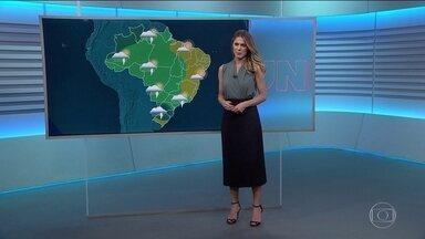 Veja como fica o tempo nesta terça (5) - Alerta de risco de temporal para Goiás, parte de Minas, São Paulo, Paraná, Santa Catarina e norte gaúcho.