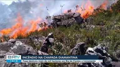 Incêndio já dura seis dias em Rio de Contas e Livramento de Nossa Senhora - Fogo destrói parte de áreas de preservação ambiental nos dois municípios.