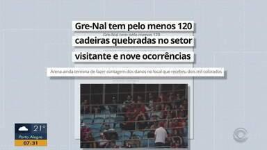 Gre-Nal tem pelo menos 120 cadeiras quebradas no setor visitante e nove ocorrências - Arena ainda termina de fazer contagem dos danos no local que recebeu dois mil colorados.